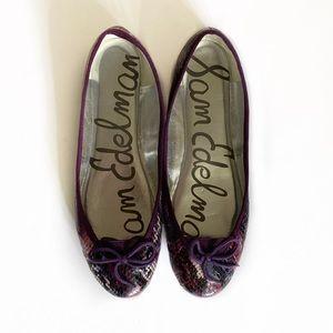 Sam Edelman Purple Snakeskin Flats with Bows